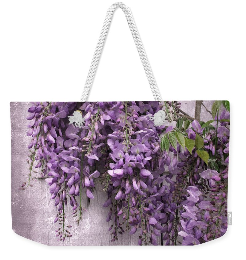 Flowers Weekender Tote Bag featuring the photograph Wistful Wisteria by Jessica Jenney