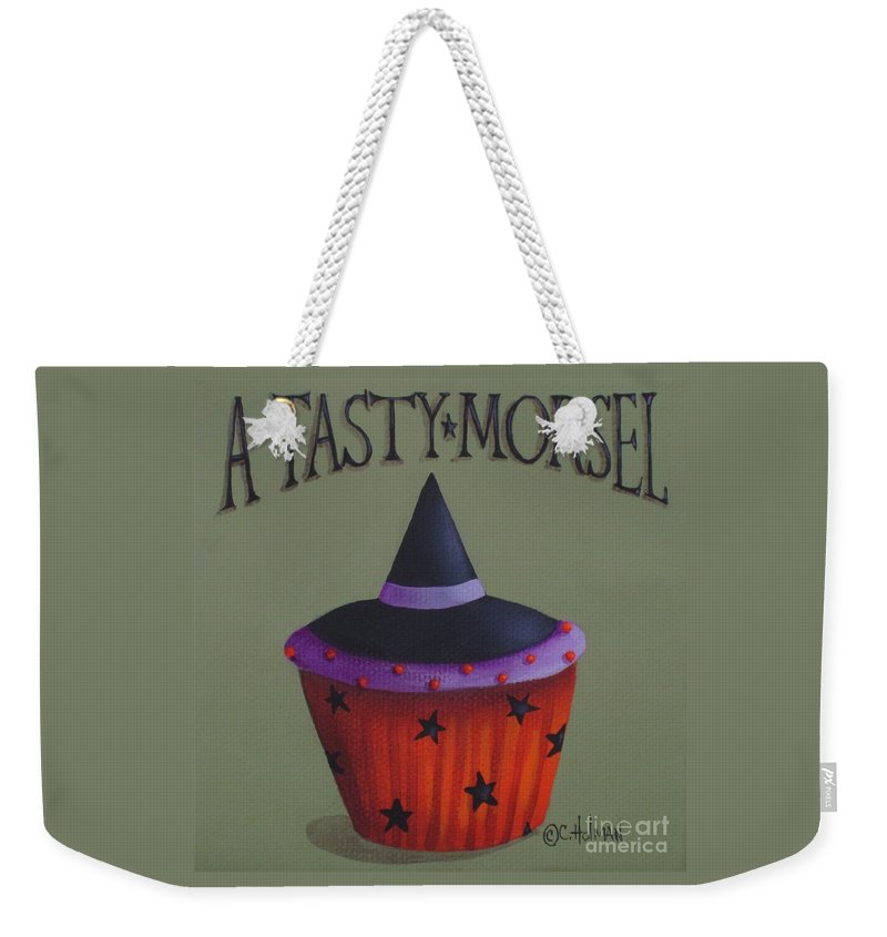 Art Weekender Tote Bag featuring the painting Witches Hat Tasty Morsel Cupcake by Catherine Holman