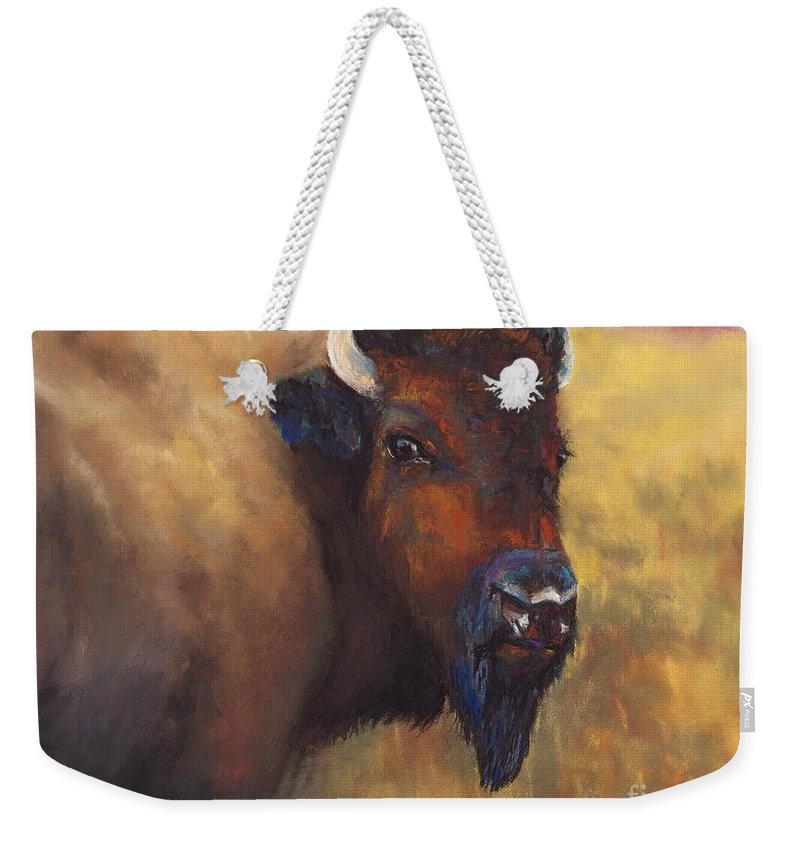 Bison Weekender Tote Bag featuring the painting With Age Comes Beauty by Frances Marino