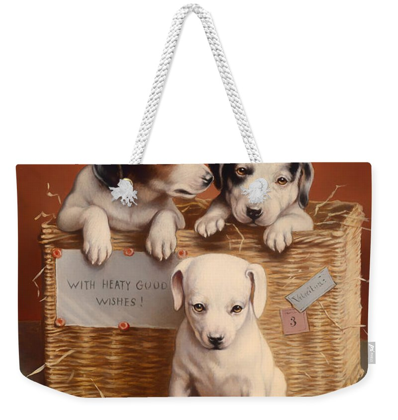 Puppy Weekender Tote Bag featuring the painting With Hearty Good Wishes by Mountain Dreams