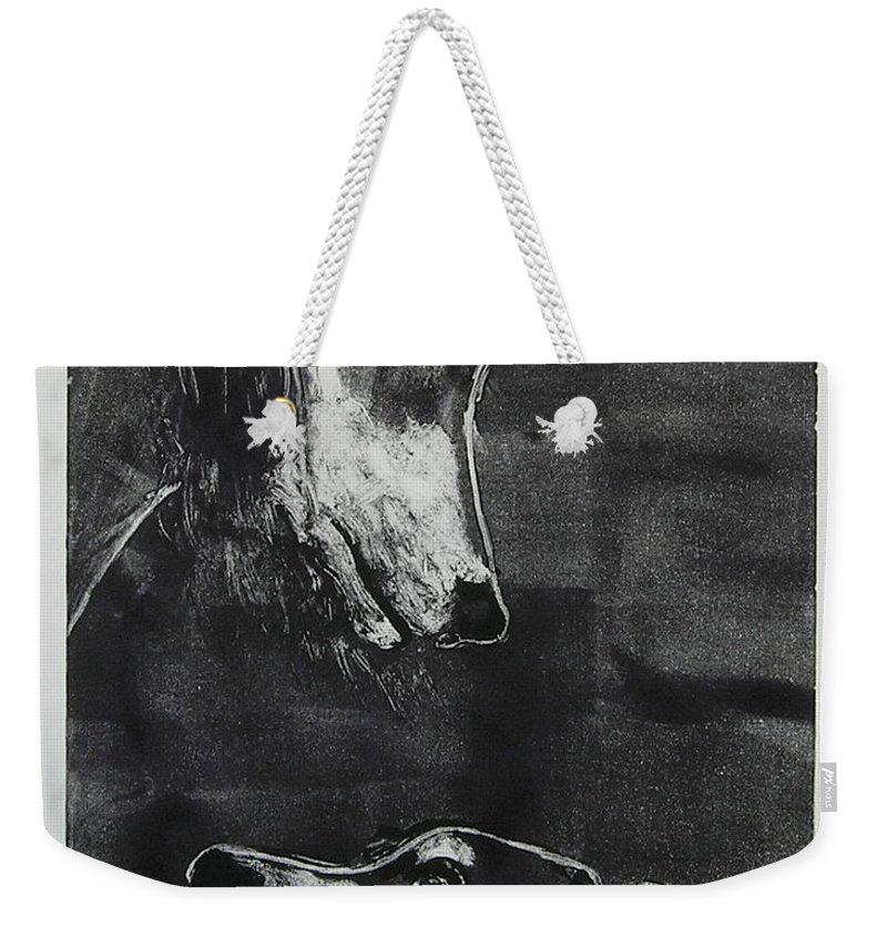 Saluki Weekender Tote Bag featuring the mixed media With Love by Cori Solomon