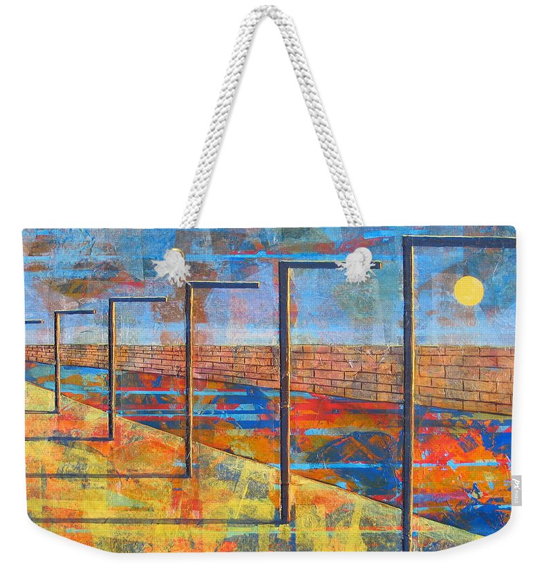 Landscape Weekender Tote Bag featuring the painting Within These Walls by Rollin Kocsis