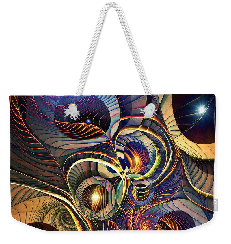 Waves Weekender Tote Bag featuring the digital art Without A Straight Line by Klara Acel