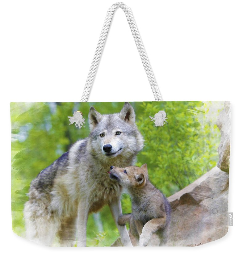 African Elephants Weekender Tote Bag featuring the digital art Wolf Of Minnesota by Don Kuing