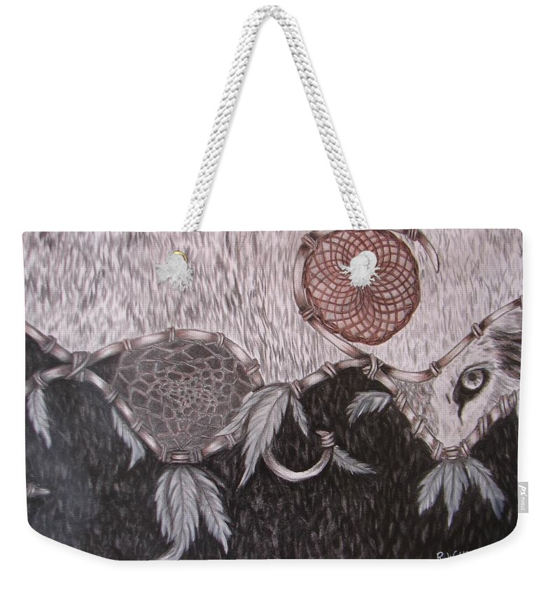 Wolf Weekender Tote Bag featuring the drawing The Wolf Is Watching by Rebecca Wiltfong Frisbee