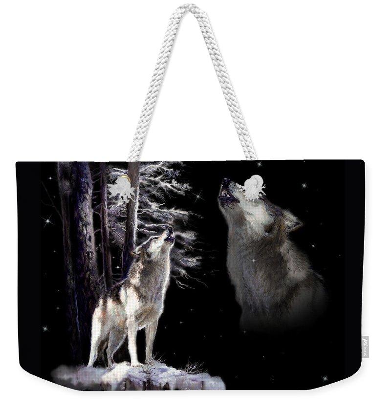 Original Wildlife Acrylic Painting By Gina Femrite Weekender Tote Bag featuring the painting Wolf Howling Memory by Regina Femrite