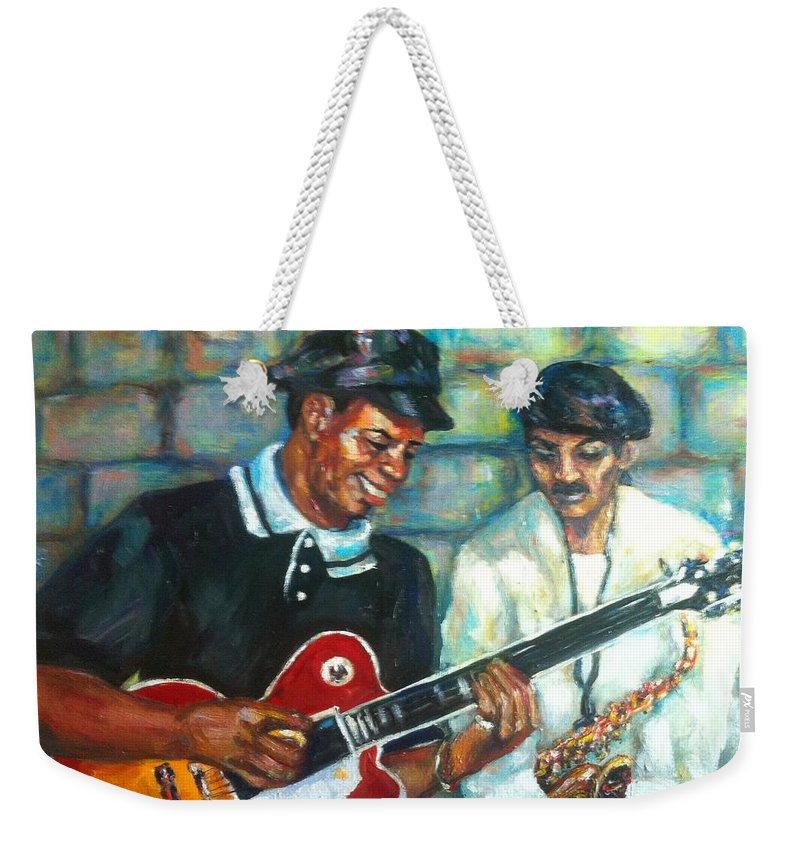Guitar Weekender Tote Bag featuring the painting Wolfman by Beverly Boulet