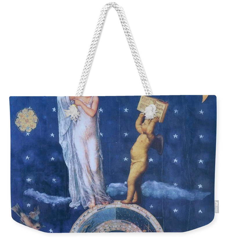 Moon Weekender Tote Bag featuring the mixed media Woman And Cherub by Judy Tolley
