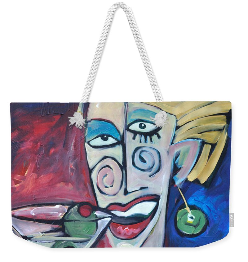Martini Weekender Tote Bag featuring the painting Woman At Martini Bar by Tim Nyberg