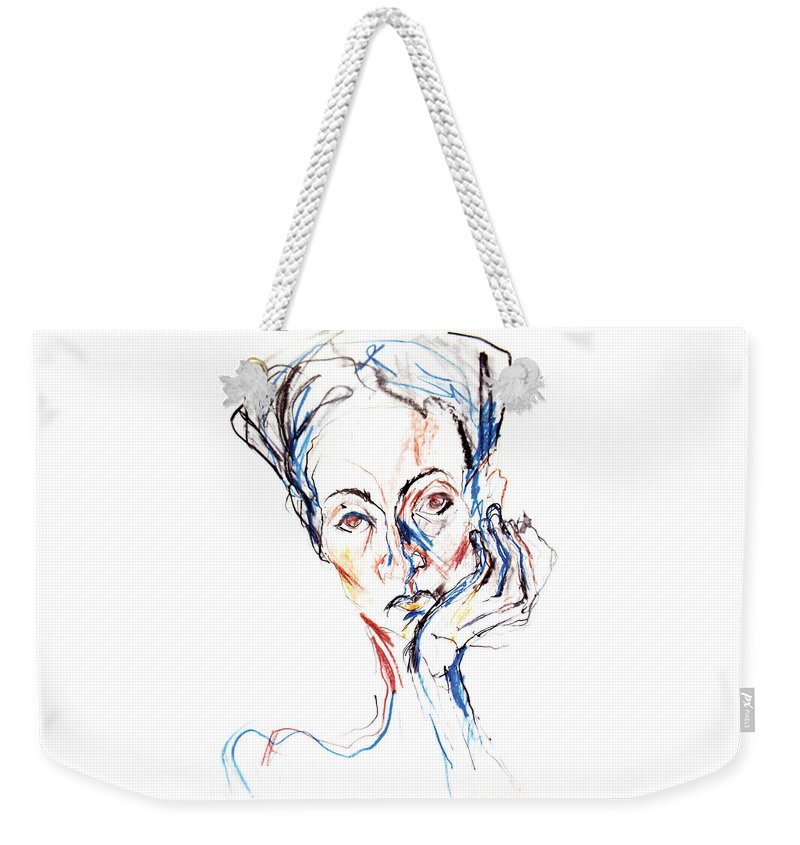 Original Painting Weekender Tote Bag featuring the drawing Woman Expression by Marian Voicu