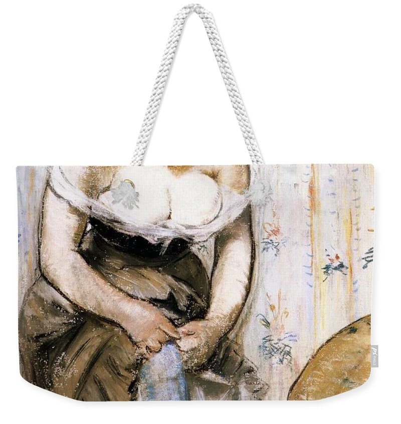 1879 Weekender Tote Bag featuring the painting Woman Fastening Her Garter by Edouard Manet