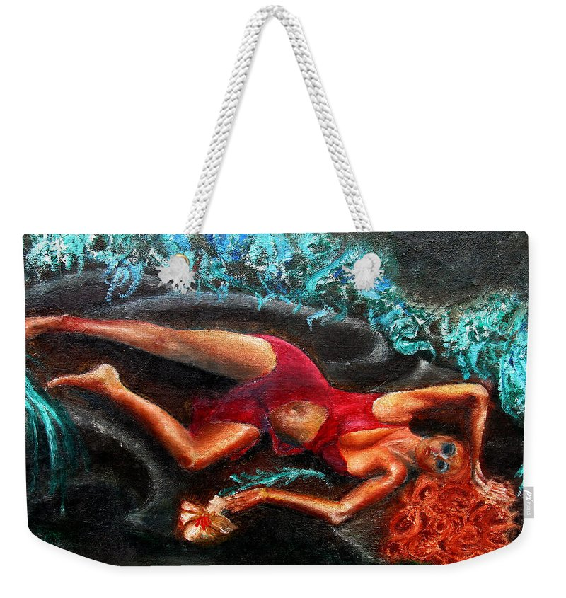 Females Weekender Tote Bag featuring the painting Woman In A Red Dress Holding A Flower by Tom Conway