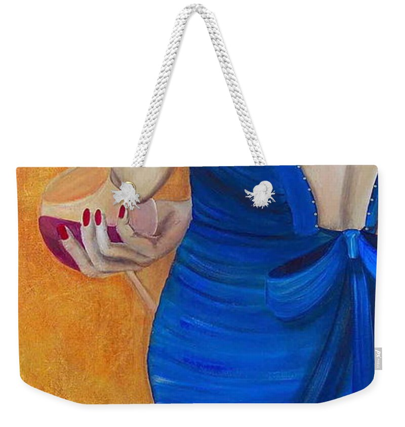 Woman Weekender Tote Bag featuring the painting Woman In Blue by Debi Starr