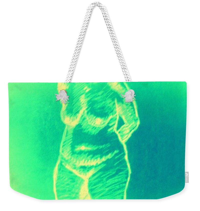 Genio Weekender Tote Bag featuring the mixed media Woman In Green by Genio GgXpress