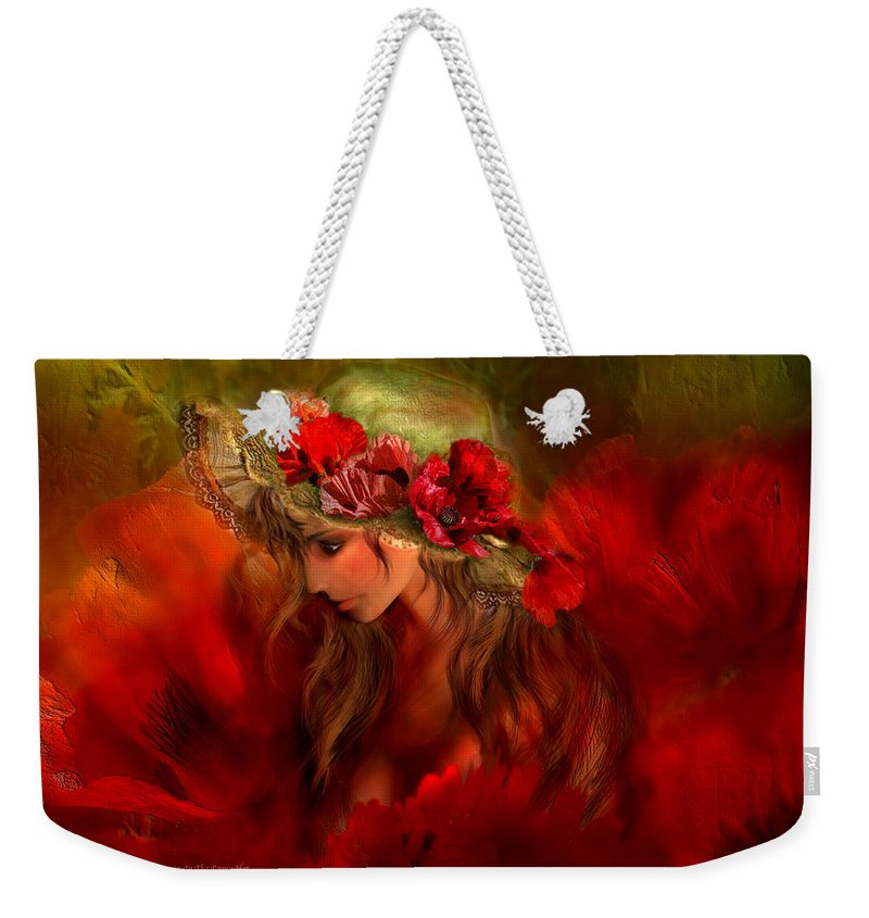 Carol Cavalaris Weekender Tote Bag featuring the mixed media Woman In The Poppy Hat by Carol Cavalaris