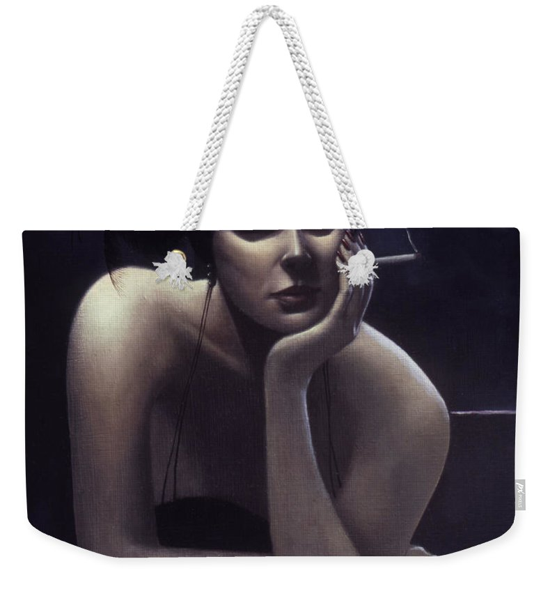 Cigarette Weekender Tote Bag featuring the painting Woman Left Lonely by Jane Whiting Chrzanoska