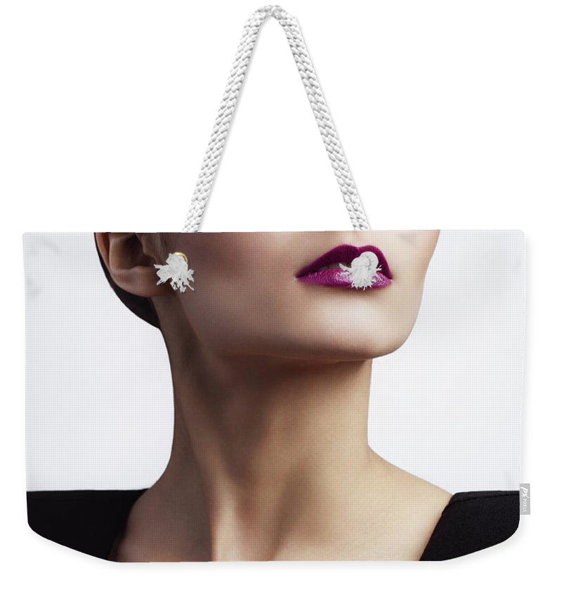 Cool Attitude Weekender Tote Bag featuring the photograph Woman With Trendy Eyewear by Lambada