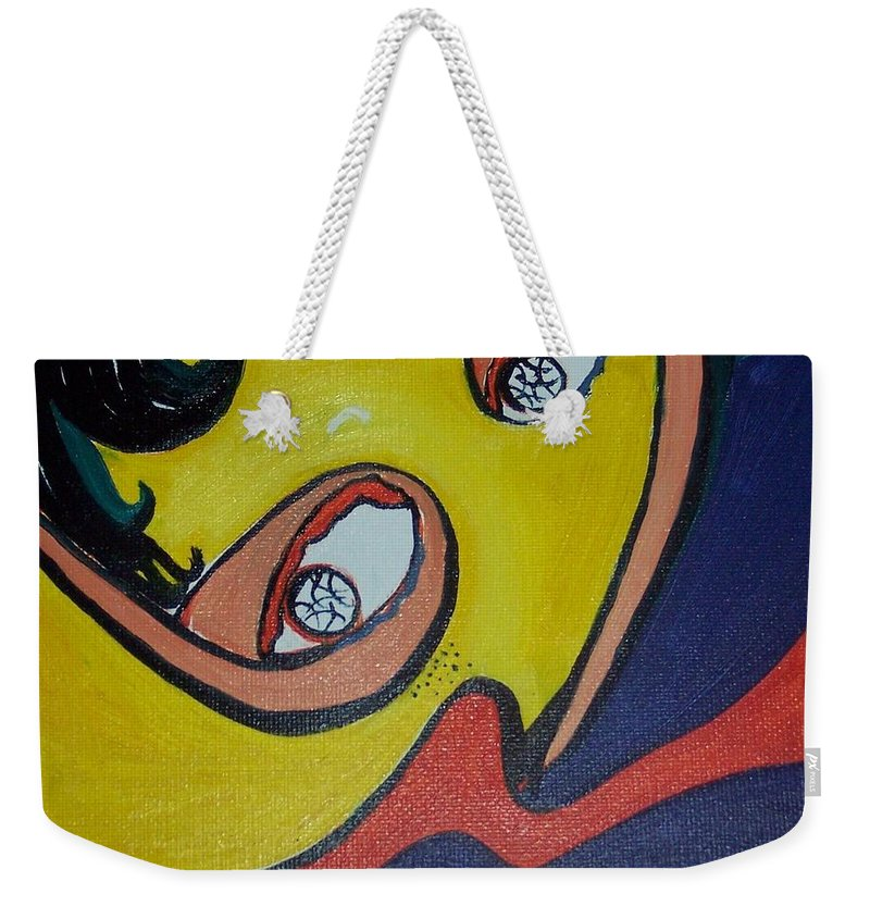 Abstract Figurative Paintings Weekender Tote Bag featuring the painting Woman20 by Seon-Jeong Kim