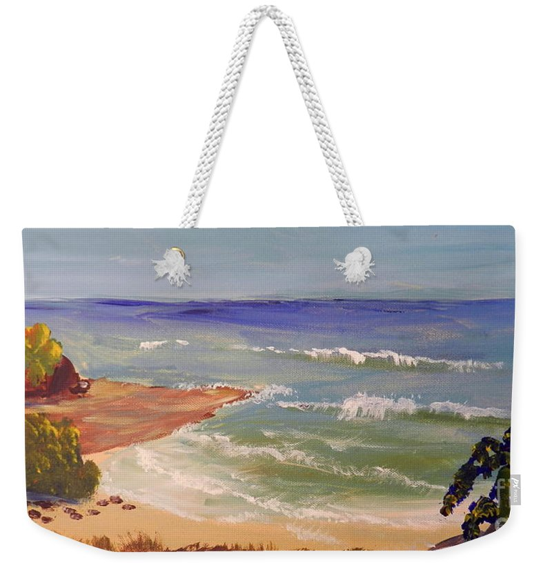 Impressionism Weekender Tote Bag featuring the painting Wombarra Beach by Pamela Meredith