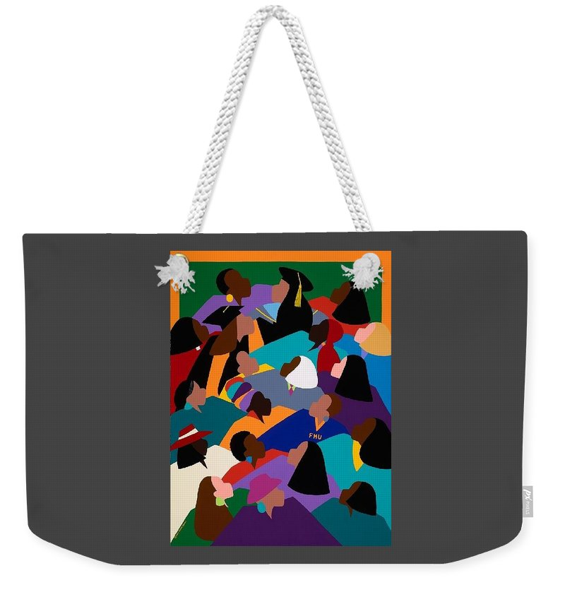 Women Weekender Tote Bag featuring the painting Women Lifting Their Voices by Synthia SAINT JAMES