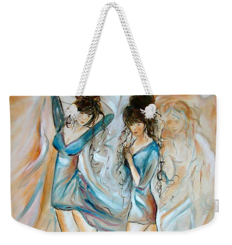 Contemporary Art Weekender Tote Bag featuring the painting Wondering by Silvana Abel