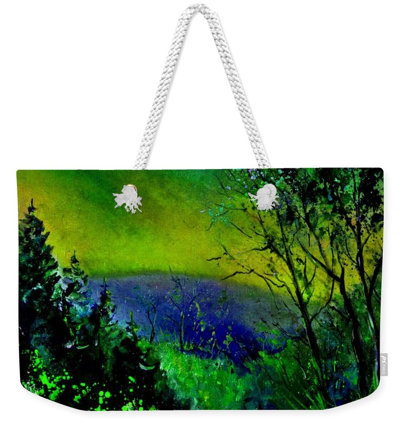 Wood Weekender Tote Bag featuring the painting Wood 957 by Pol Ledent