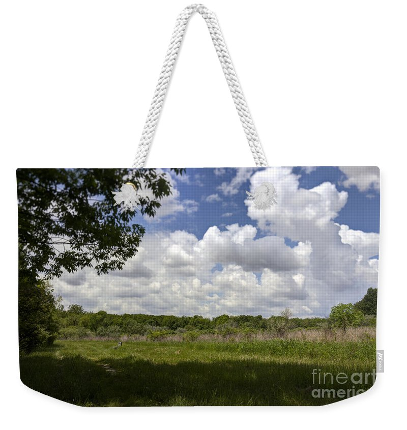 Alone Weekender Tote Bag featuring the photograph Wood Bench by Alan Look