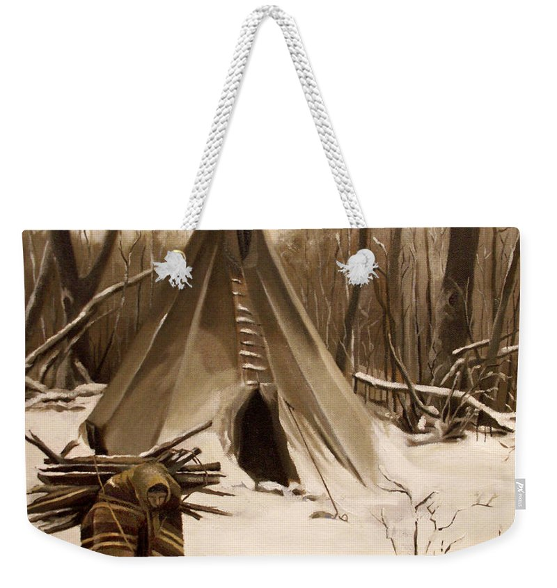Native American Weekender Tote Bag featuring the painting Wood Gatherer by Nancy Griswold
