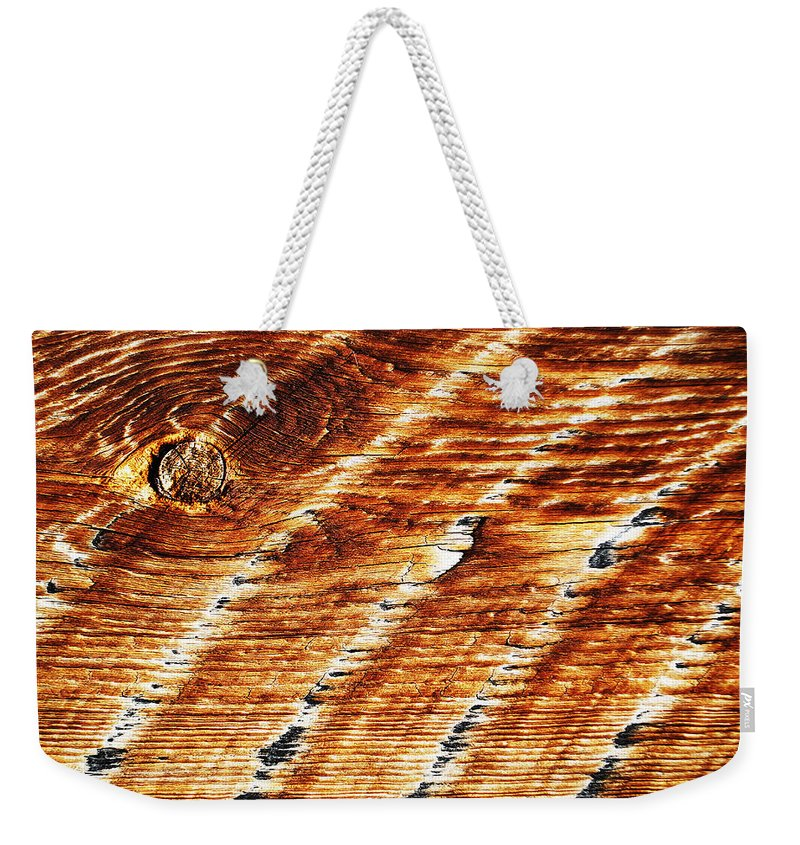 Becky Furgason Weekender Tote Bag featuring the photograph #woodgrain by Becky Furgason