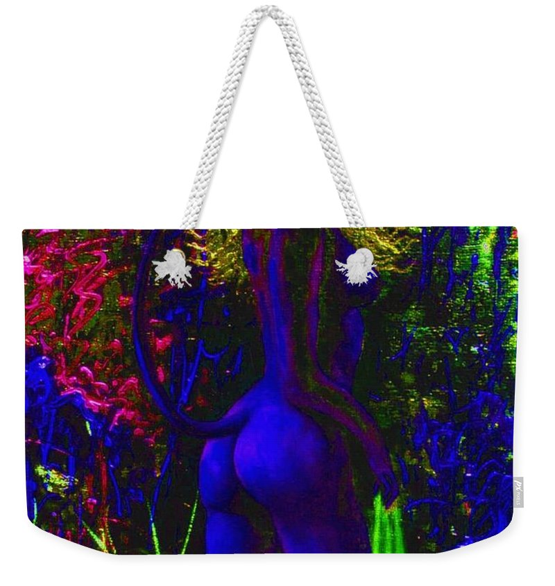 Genio Weekender Tote Bag featuring the mixed media Wood Nymph In Blue by Genio GgXpress