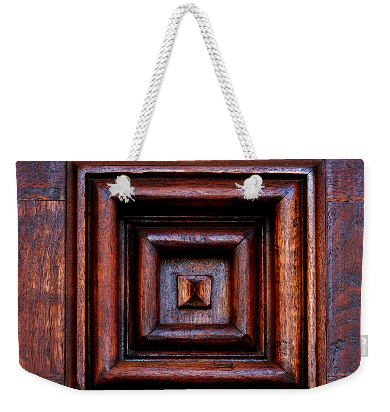 Santa Barbara Weekender Tote Bag featuring the photograph Wood Panel by Art Block Collections