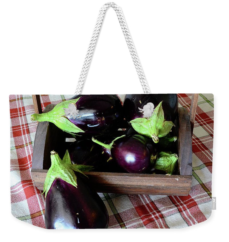 Purple Weekender Tote Bag featuring the photograph Wooden Basket Of Eggplant by Jessica Lynn Culver