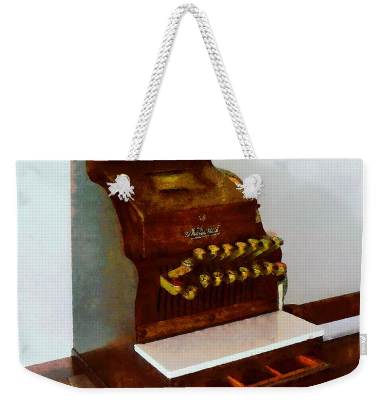 Cash Register Weekender Tote Bag featuring the photograph Wooden Cash Register by Susan Savad