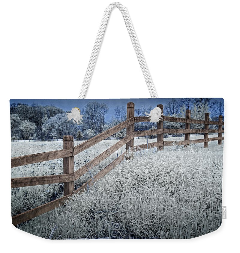 Art Weekender Tote Bag featuring the photograph Wooden Fence Of A Friesian Horse Pasture On Windmill Island by Randall Nyhof
