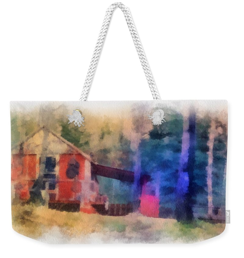 Wooden Weekender Tote Bag featuring the photograph Wooden Fishing Hunting Cabin Photo Art by Thomas Woolworth