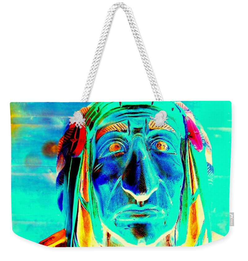 Pop Art Weekender Tote Bag featuring the photograph Wooden Indian by Ed Weidman