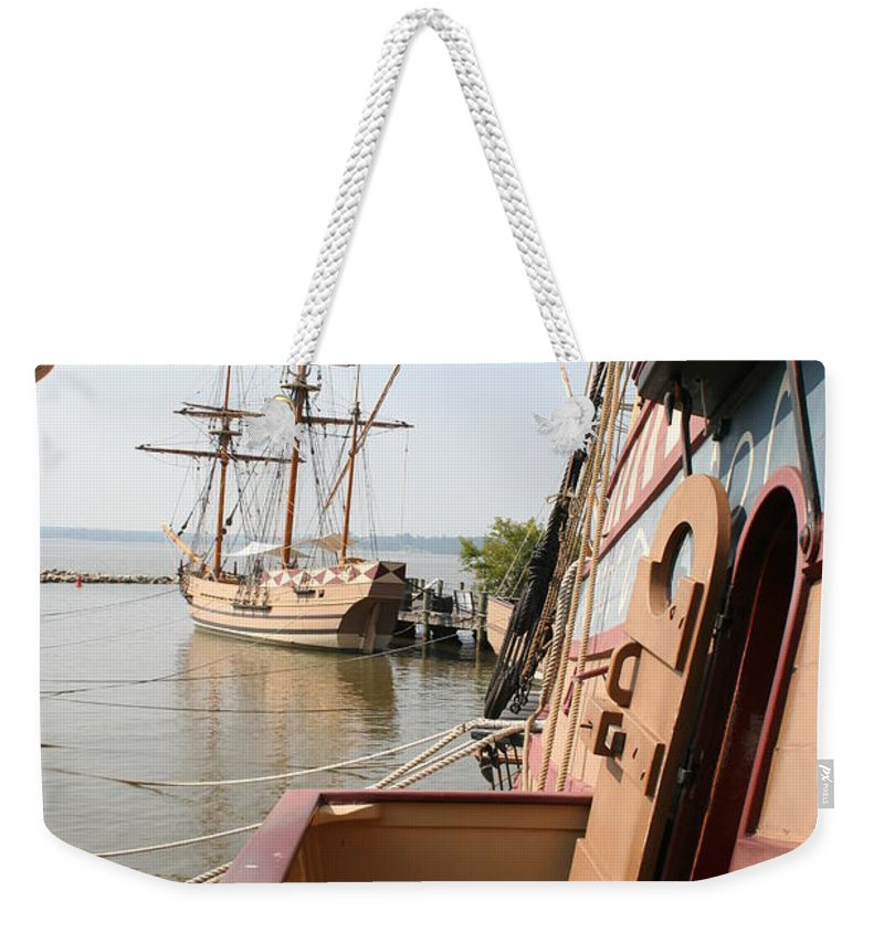 Ship Weekender Tote Bag featuring the photograph Wooden Sailingships by Christiane Schulze Art And Photography