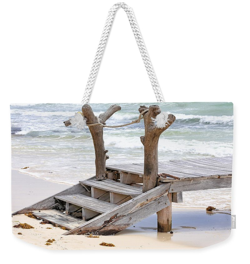 Beach Weekender Tote Bag featuring the photograph Wooden Steps by Paul Fell