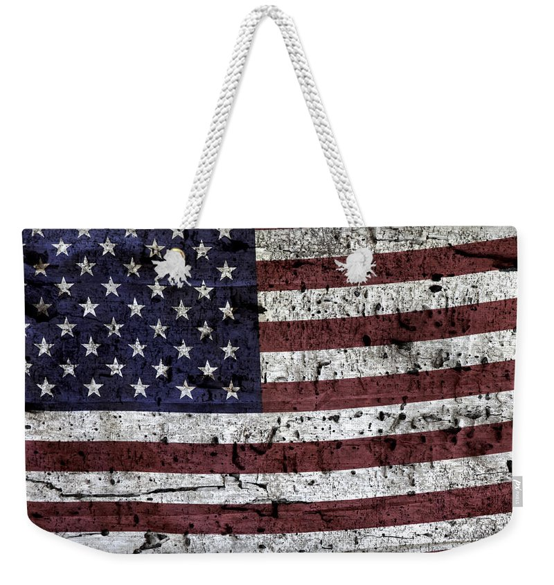 Usa Weekender Tote Bag featuring the photograph Wooden Textured U. S. A. Flag by John Stephens