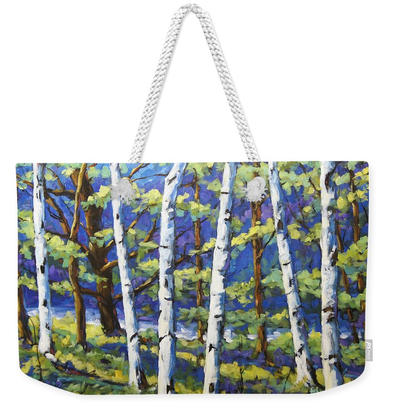 Canadian Landscape Created By Richard T Pranke Weekender Tote Bag featuring the painting Woodland Birches by Richard T Pranke