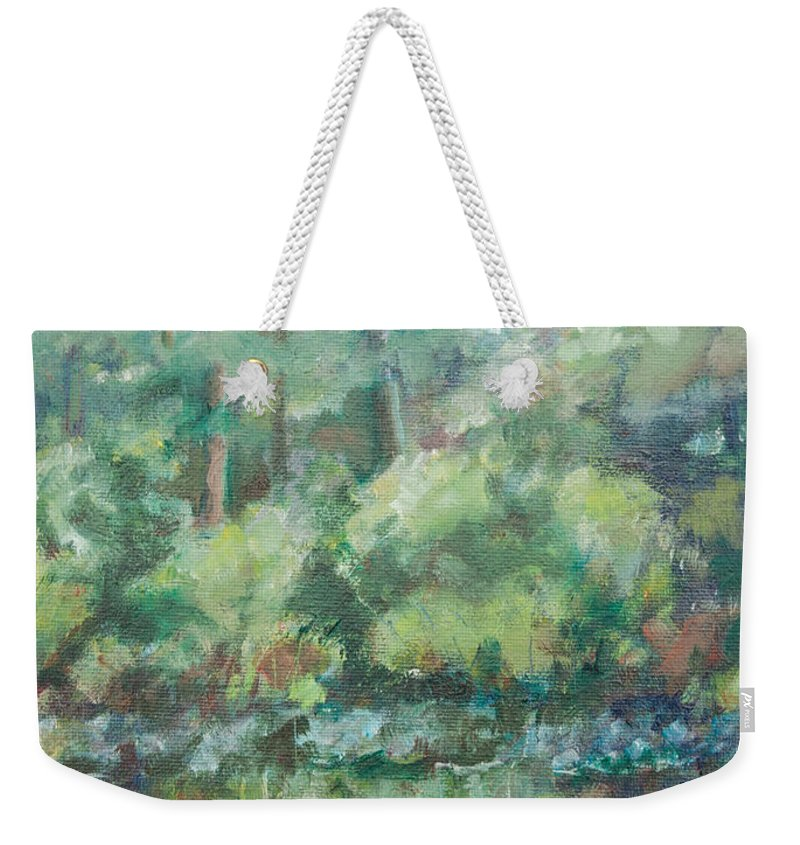 Woods Weekender Tote Bag featuring the painting Woodland Pond by Sarah Parks