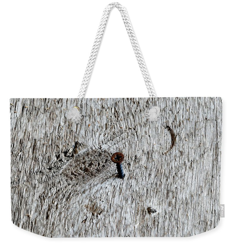 Wood Screw Weekender Tote Bag featuring the photograph Woodscrew by Scott Angus