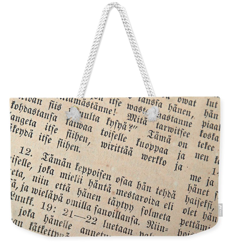 Finland Weekender Tote Bag featuring the photograph Words Of The Bible by Jouko Lehto