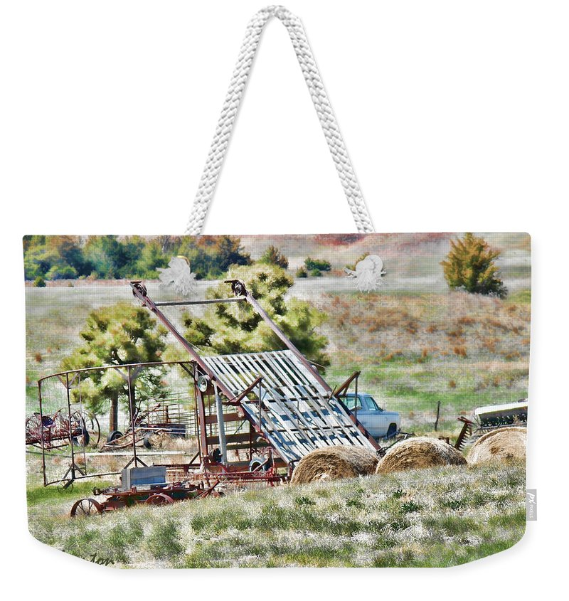 Farm Weekender Tote Bag featuring the photograph Work Is Done by Sylvia Thornton