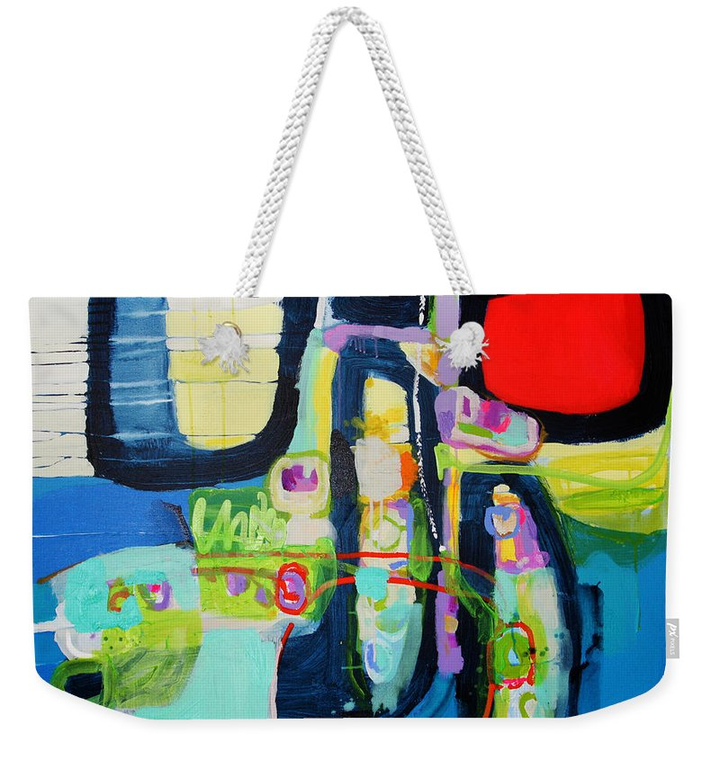 Abstract Weekender Tote Bag featuring the painting Work It Out by Claire Desjardins