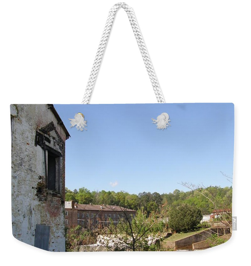 Workhouse Weekender Tote Bag featuring the photograph Workhouse Riverside by Caryl J Bohn