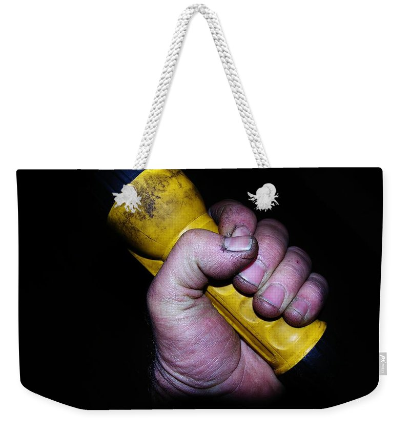 Working Hand Weekender Tote Bag featuring the photograph Working Mans Hand by Sherman Perry