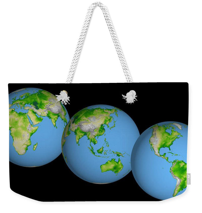 World Globes Weekender Tote Bag featuring the photograph World Globes by Nasa Jpl