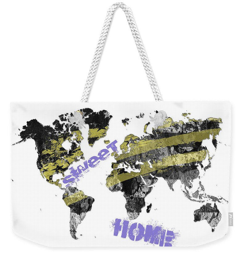 World Weekender Tote Bag featuring the digital art World Map Cool by Voros Edit