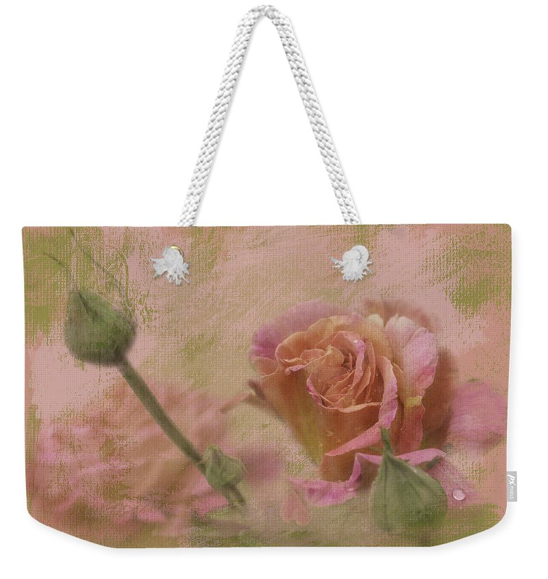 Roses Weekender Tote Bag featuring the photograph World Peace Roses With Texture by Diane Schuster